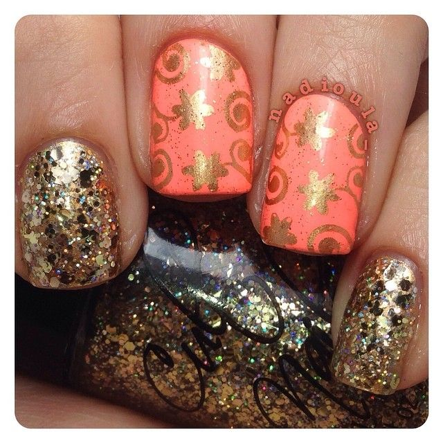 146c8e8316e Fresh Paint Guava with Orly Prisma Gloss Gold stamped using Cheeky Jumbo  Plate 10 Happy Nails
