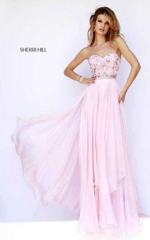 2015 Sherri Hill 1943 Pink Chiffon Full Figured Evening Dress ...