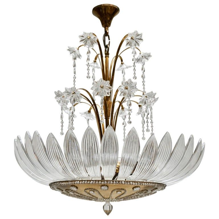 Murano Art Glass Flower Leaves And Brass Chandelier Sea Glass Chandelier Brass Chandelier Murano Glass Chandelier Vintage