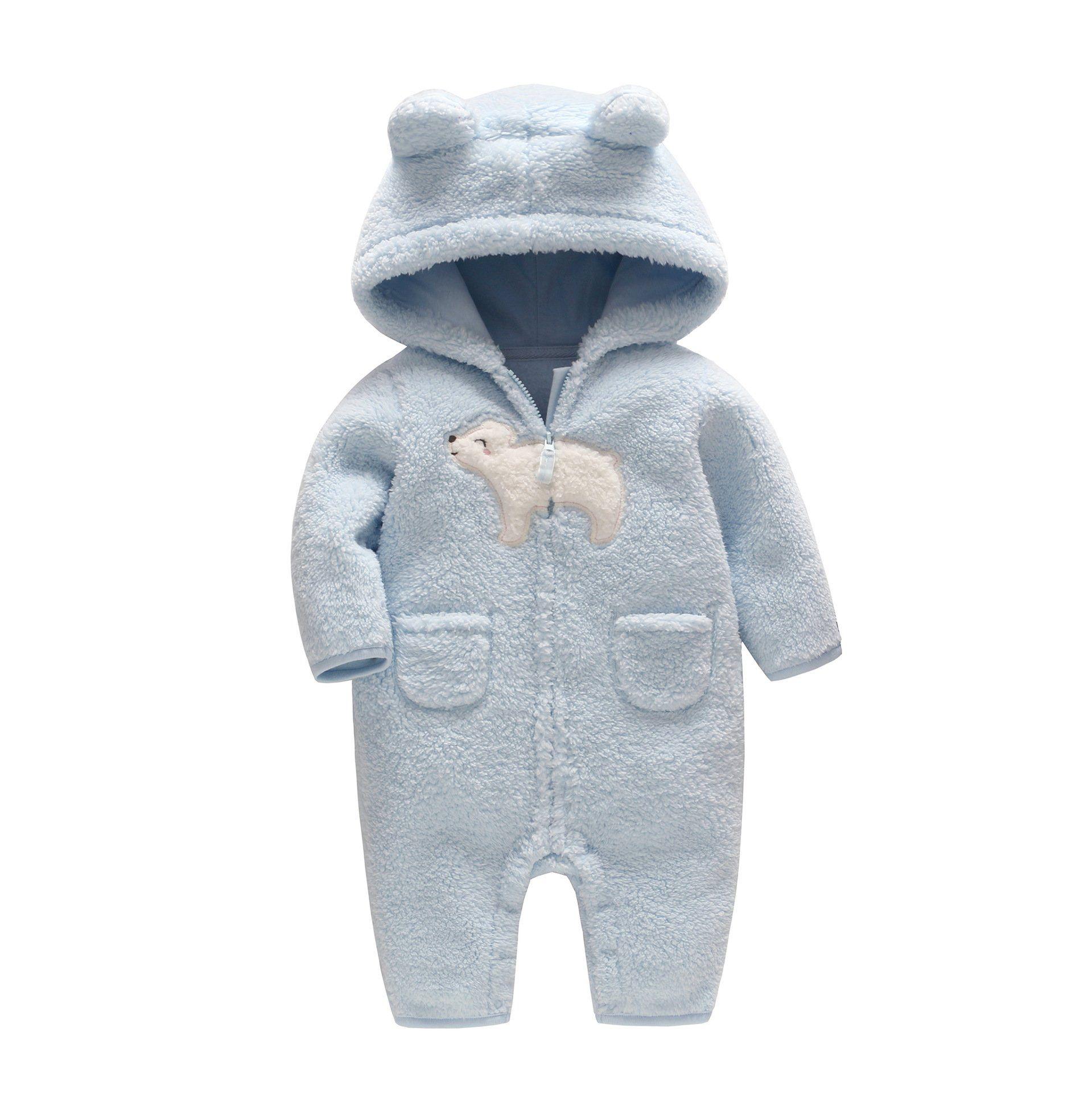 ccbc33c93 Cartoon Polar Bear Cashmere Baby Winter Warm Hooded Jumpsuit ...