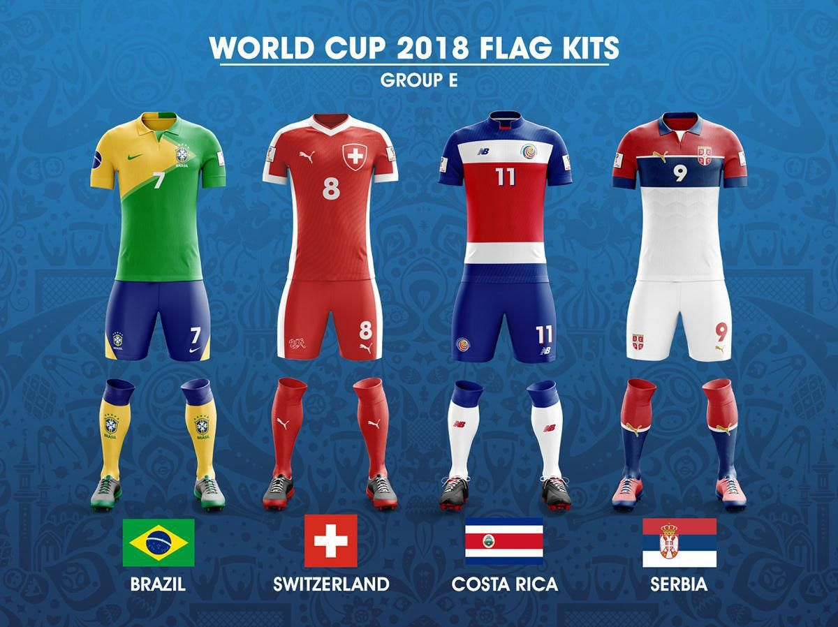 2018 Fifa World Cup Russia Group E Concept Of Forms Based On National Flags Kit Worldcup2018 Worldcup Wc2018 Wcrussia World Cup World Football Soccer