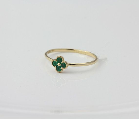 Unique Wedding RingLucky Clover Ring Natural Emerald Ring 14K