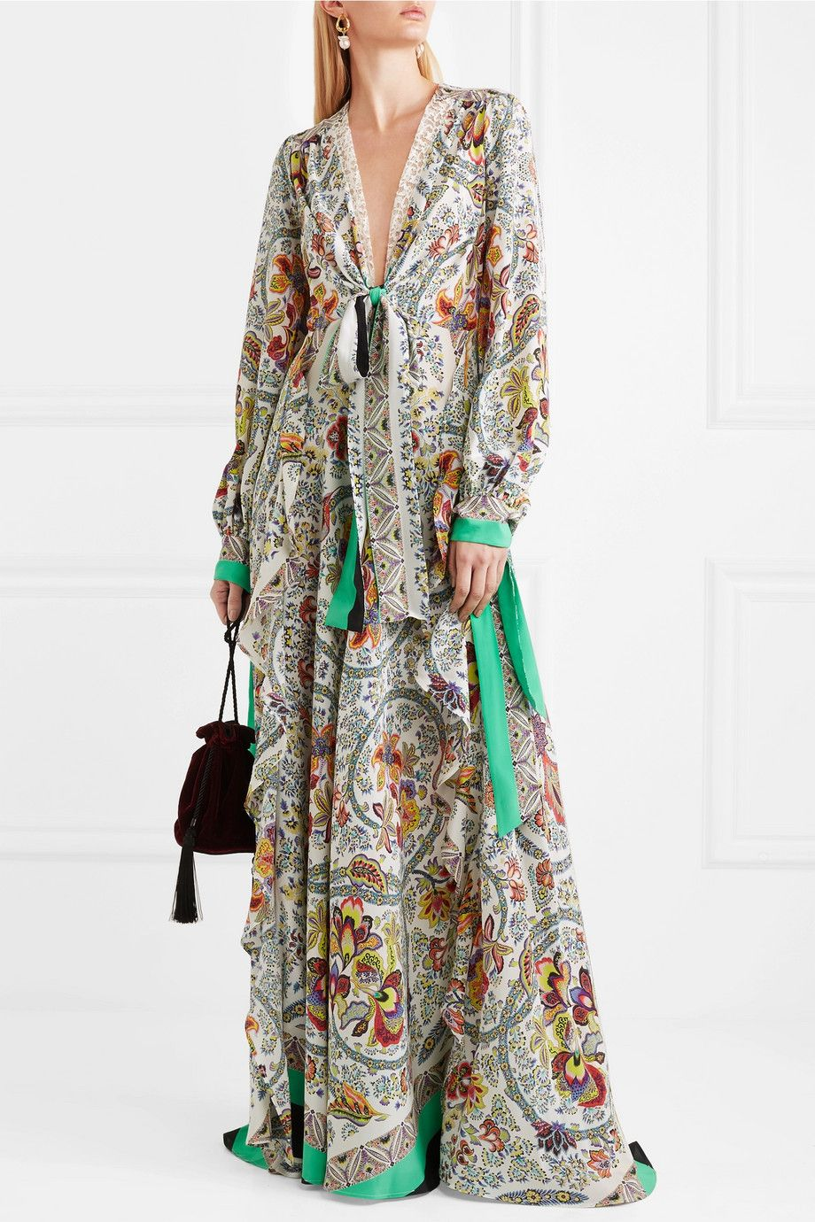 Corded Lace-trimmed Printed Silk Maxi Dress - White Etro Outlet Original Outlet Footlocker Sale Latest CpTfa9
