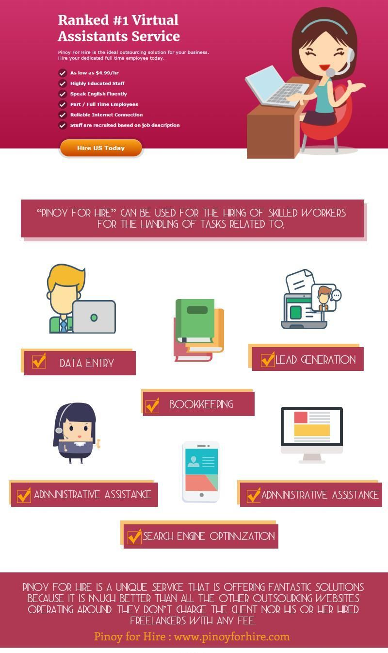 #Pinoyforhire is an extension of the already existing outsourcing websites. However, they are much better for those who are not looking for anything general. There, you will be able to meet experienced and quality freelancers who come from only one country, and its Philippines.
