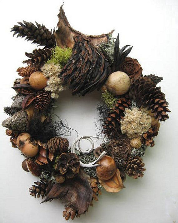 Pinecone and Dried Seed Pod Wreath PW31 NEW by BeacheryDesigns, $55.00