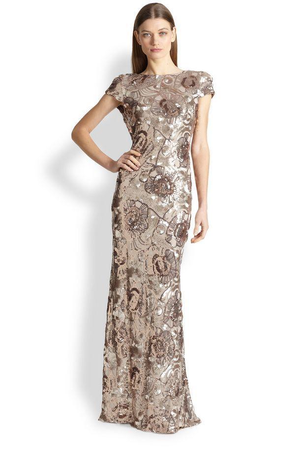 Badgley Mischka Floral Sequin Rose Gold Cap Sleeve Cowl Back ...