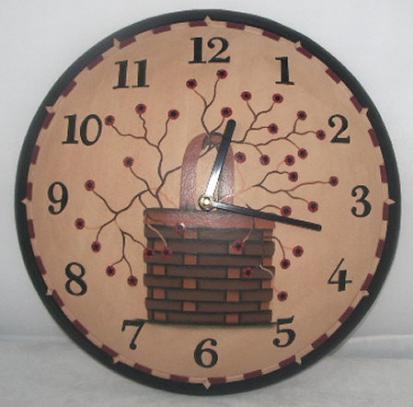 Primitive Berry Basket Wooden Clock Primitive Wall Decor Clock Wooden Clock