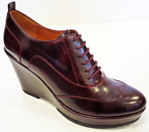 Armonia GEOX Retro Brushed Leather Mod Wedge Shoes | atomretro.com