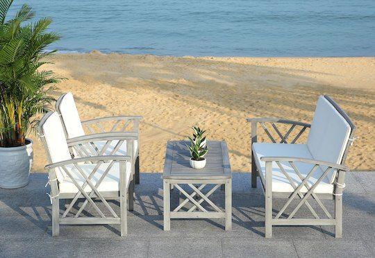 Safavieh Fontana 4 Pc Outdoor Set in Grey & Beige in Grey ... on Fontana 4 Pc Outdoor Set id=17831