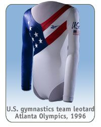 Dominique Dawes wore this U.S. gymnastics team leotard, Atlanta Olympics, 1996 via @National Museum of American History, Smithsonian