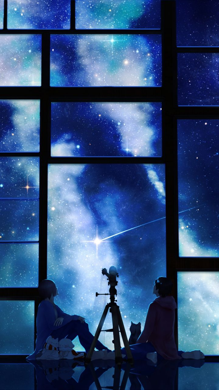 download wallpaper 720x1280 tamagosho, sky, stars, telescope, night