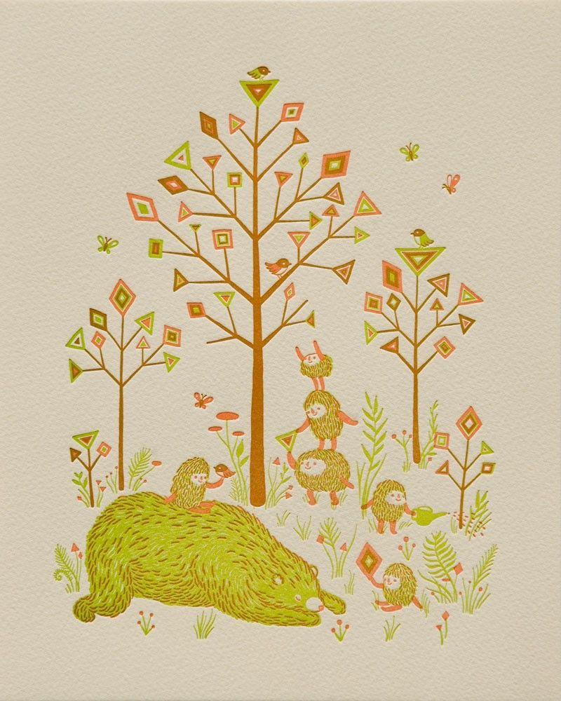 Forest Harvest by Apak. - letterpress print Wilkintle
