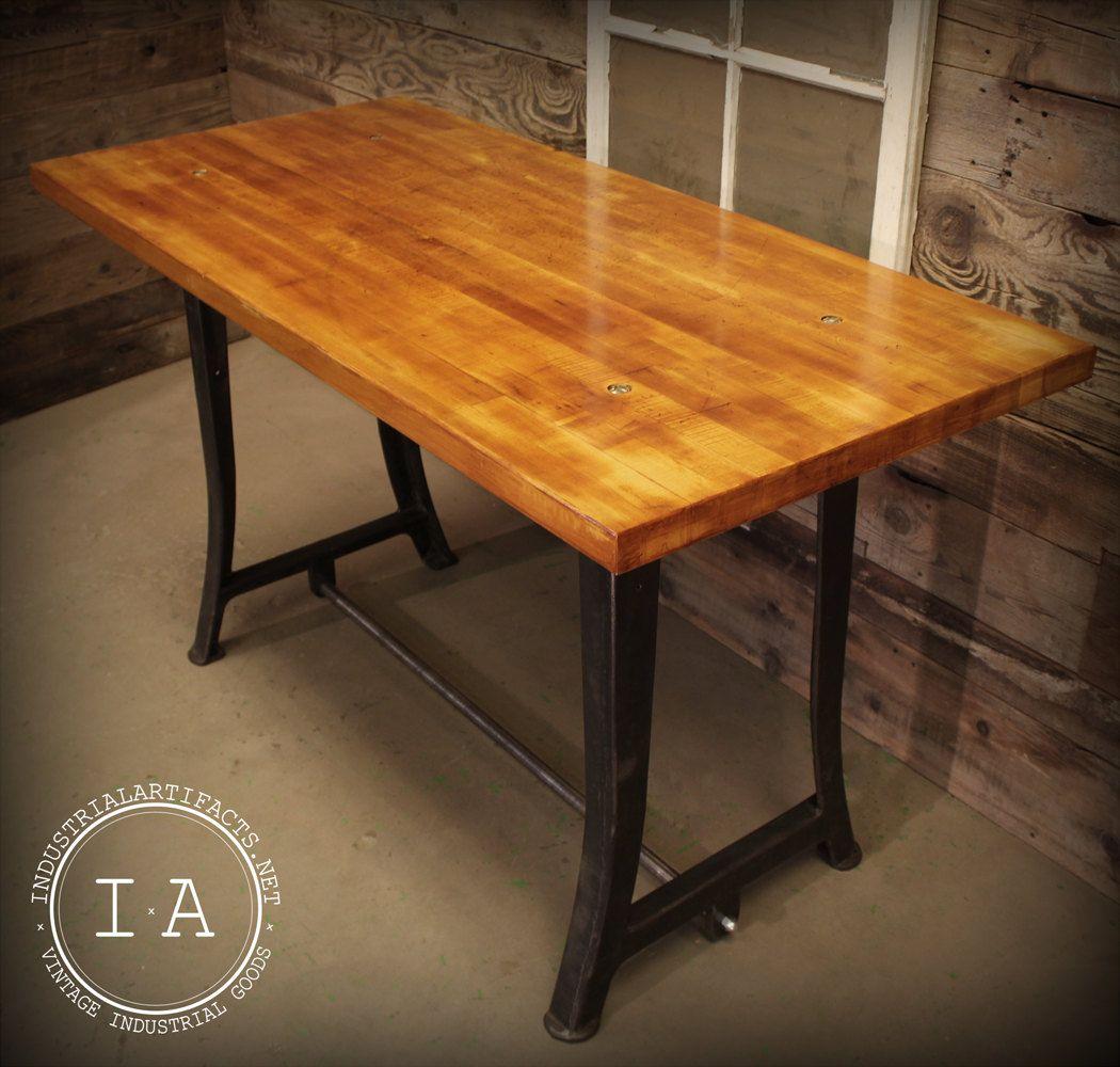 Vintage Industrial Work Bench Table Desk Cast Iron Machine Legs Maple  Butcher Block Top Breakfast Bar