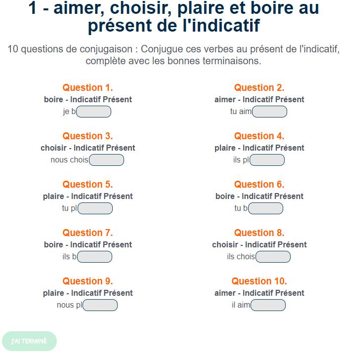 Exercice De Conjugaison Aimer Choisir Plaire Et Boire Au Present De L Indicatif Verbe Futur Simple Exercices Conjugaison