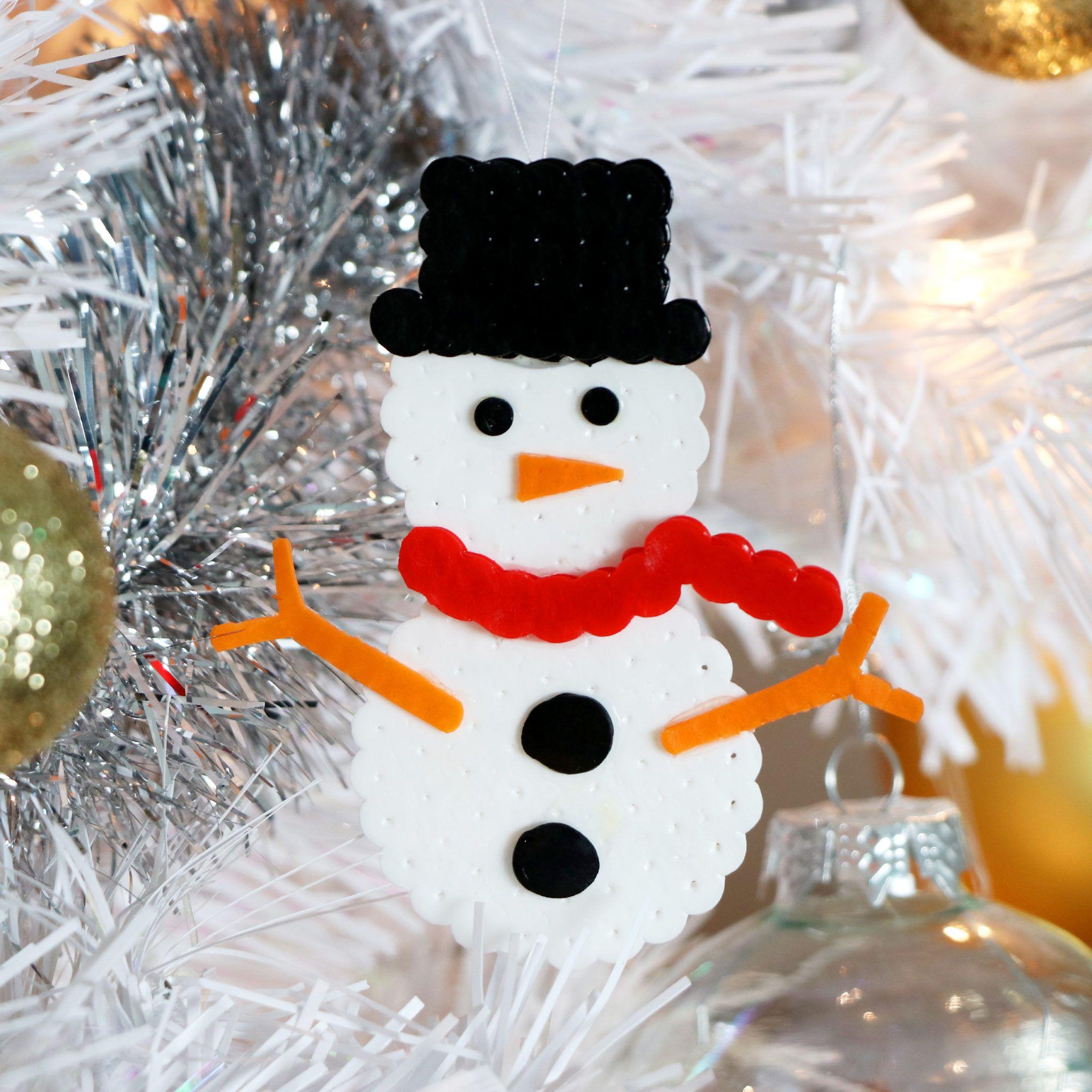 Diy Cute Layered Perler Bead Snowman Christmas Tree Ornament Handmade Holiday Home Decor Id Beaded Christmas Ornaments Christmas Ornaments Handmade Ornaments