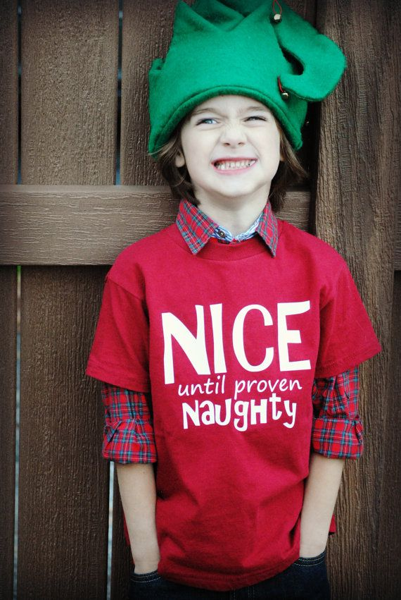 Kids Christmas Nice until proven Naughty t-shirt | Boy Applique ...