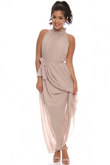 78968d20c5a TAUPE CHIFFON HIGH NECK SLEEVELESS LONG MAXI DRESS