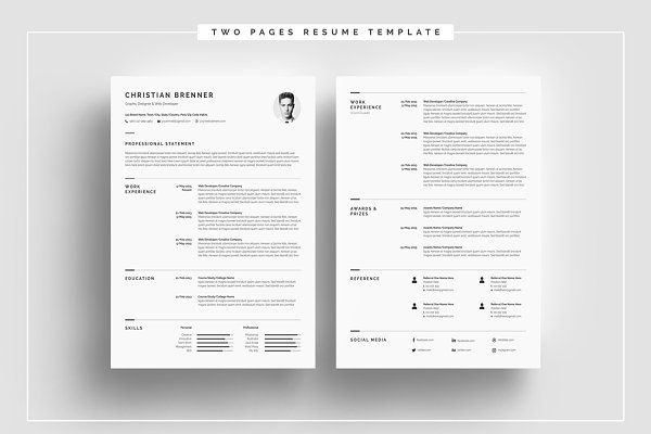 Minimalism Resume Template 4 Pages Minimalism and Template