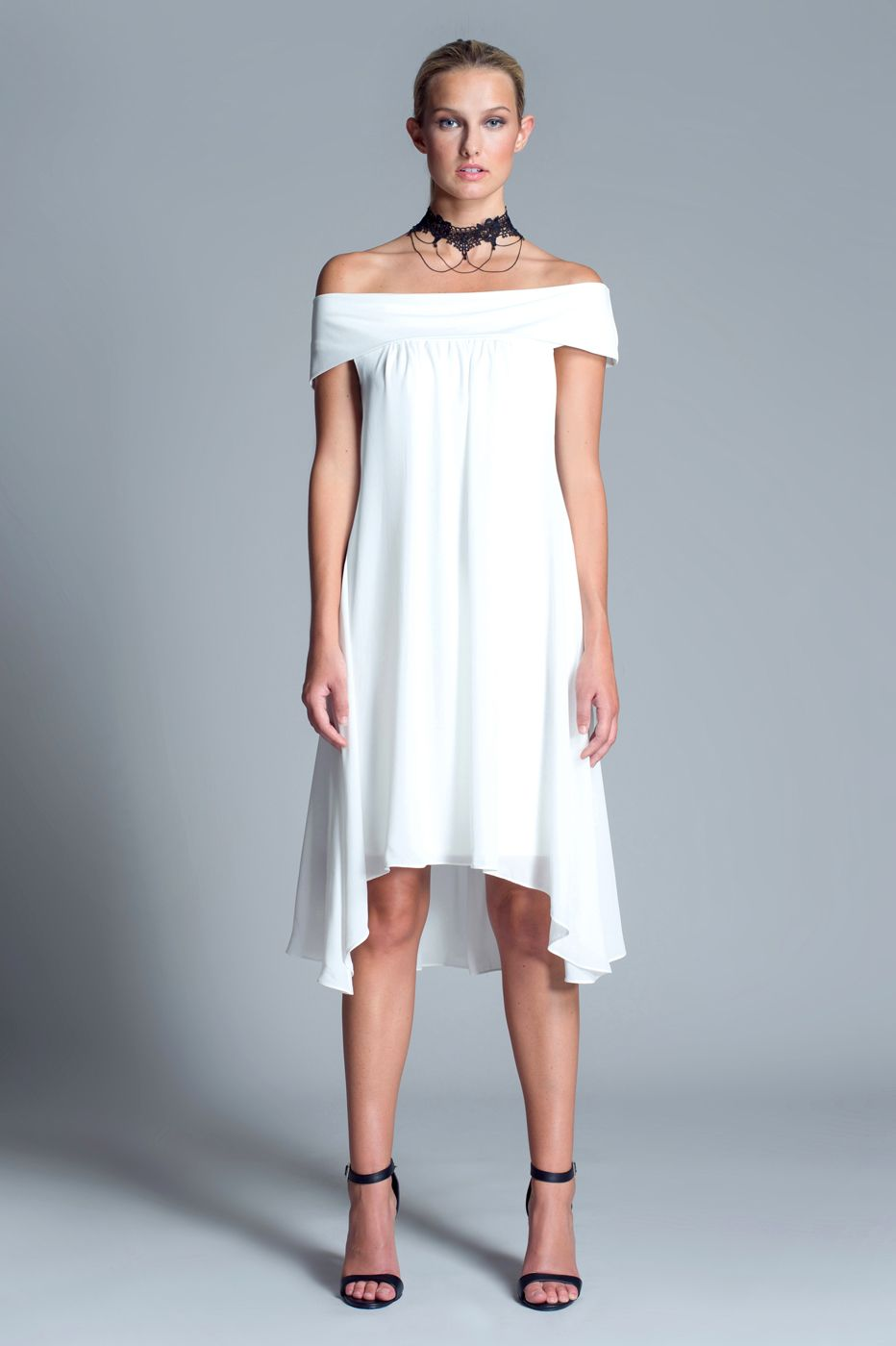 Mia Dress $180 Relaxed white off-the-shoulder dress featuring high ...