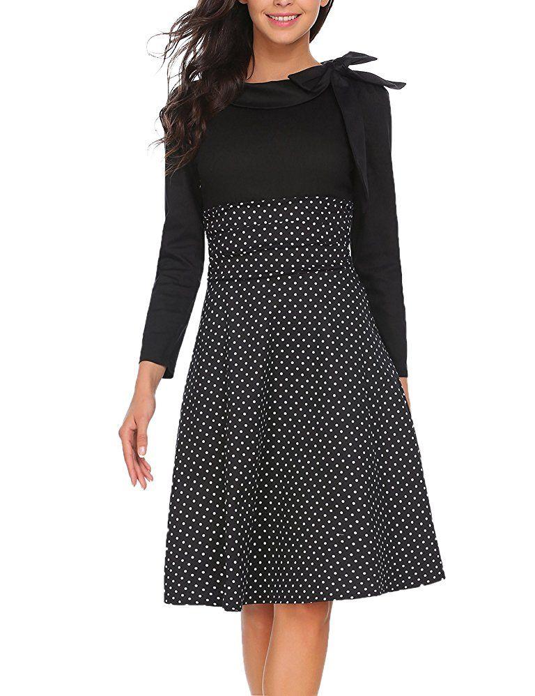 Meaneor Damen 50er Vintage Rockabilly Kleid Elegant ...