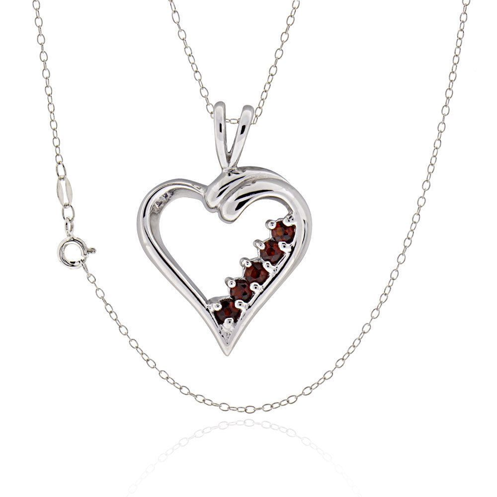 FD Sterling Silver Round Garnet Open Heart 18-inch Necklace (China) (Necklace), Women's, Size: 18 Inch (Metal)