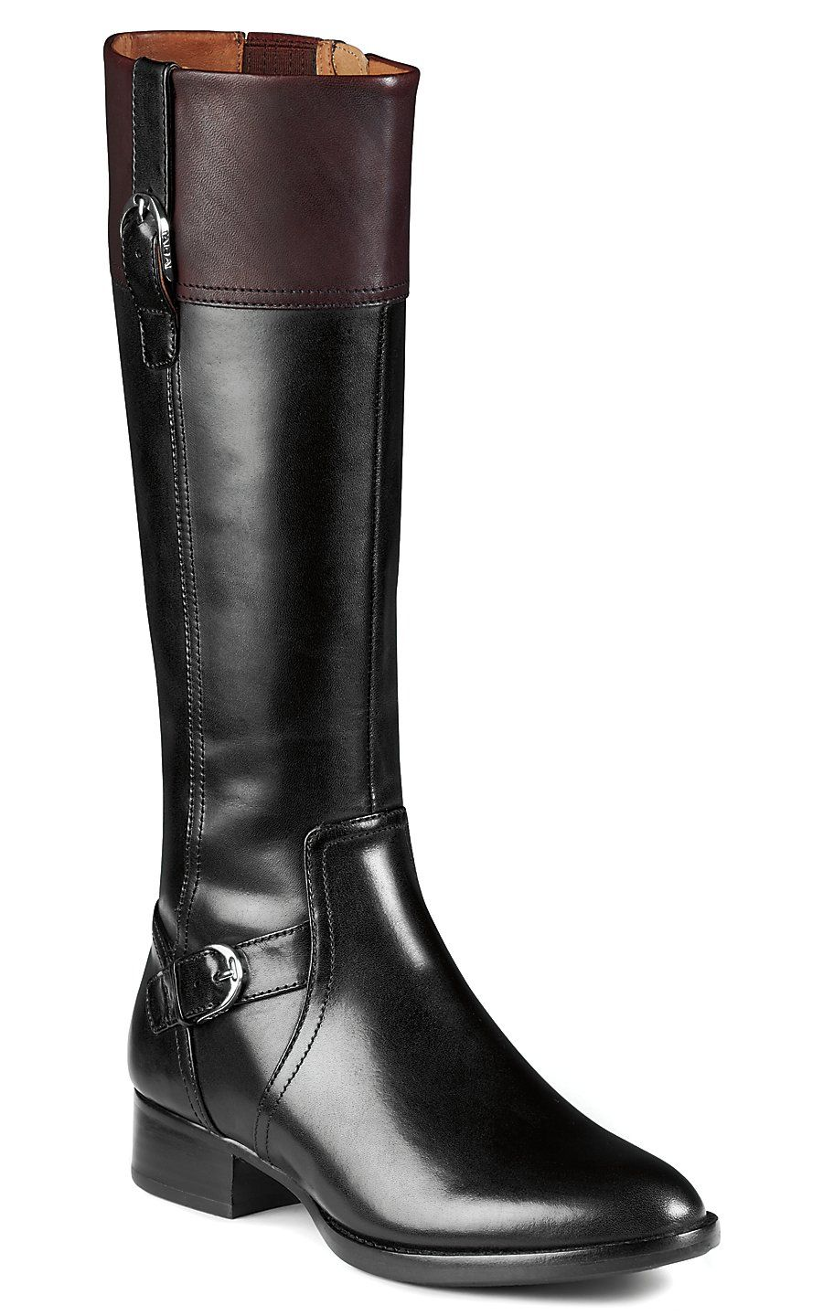 8ee31a17e51 Ariat Cordovan Women's Black w/Brown Cuff Classic Riding-Style Boot ...