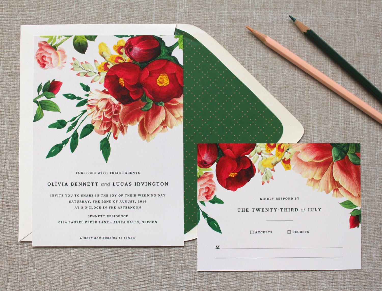 Botanist Study Wedding Invitation Suite - Sample. $6.00, via Etsy ...