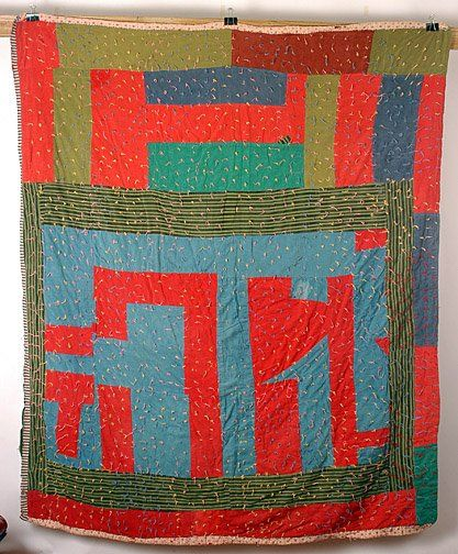 African American Corduroy Quilt with Ties