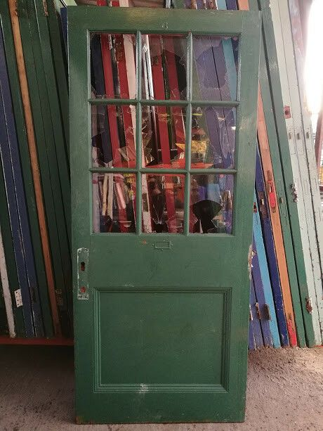 Reclaimed Vintage School Door Solid Wood Glass Panel Green