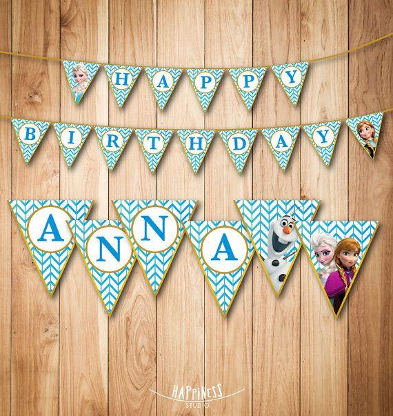 Frozen Birthday Banner Printable Frozen Banner Party By: Personalized Frozen Birthday Banner