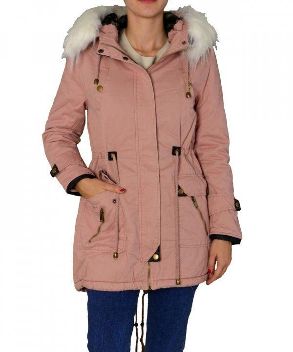df7a9351cb2 Γυναικείο μακρύ παρκά ροζ FD180R #χειμωνιατικαμπουφανγυναικεια ...