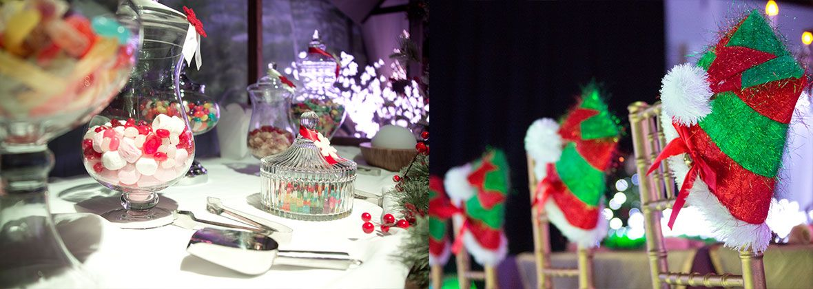 christmas event, tiffany chair, santa hats, banquet table, candy