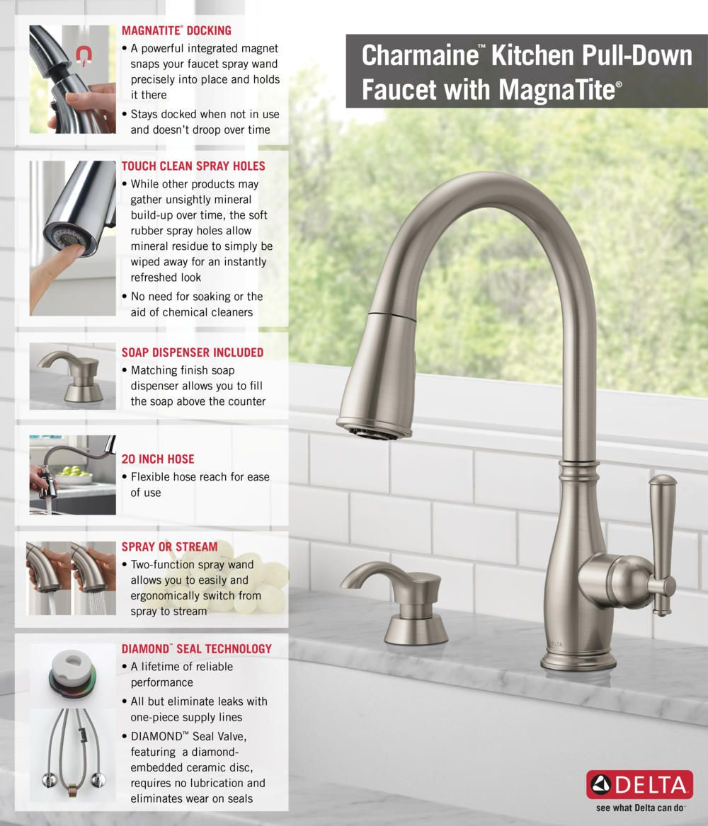 Merveilleux Delta Charmaine Single Handle Pull Down Sprayer Kitchen Faucet With Soap  Dispenser And MagnaTite Docking In Stainless