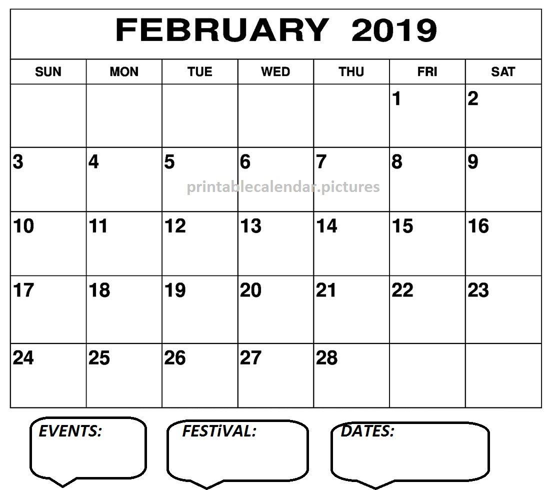 February Calendar 2019 Printable Pdf February Calendar