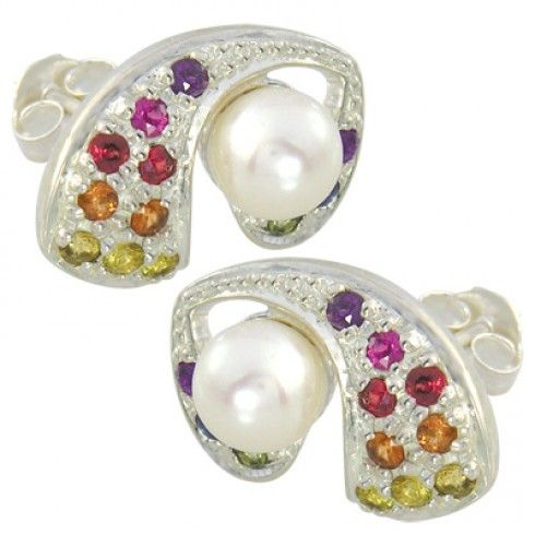 Rainbow Sapphire & Pearl Majestic Queens Earrings #earrings #jewelry #pearls