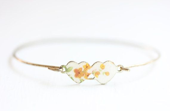 Double Heart Bracelet  White and Yellow by diamentdesigns on Etsy