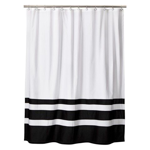 22 Threshold Color Block Shower Curtain Black White