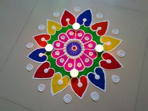 Small Easy And Quick Rangoli Design Easy Rangoli Designs By Deepika Pant Youtube Art