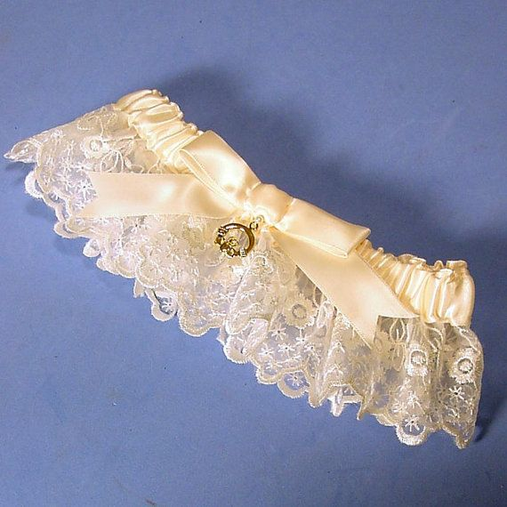 Irish Lace Wedding Garter Ivory With Claddagh By PetereneDesign 2000
