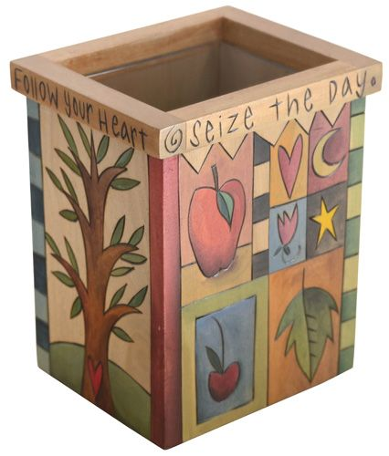 Utensil Box/ Flower Vase with glass protective liner