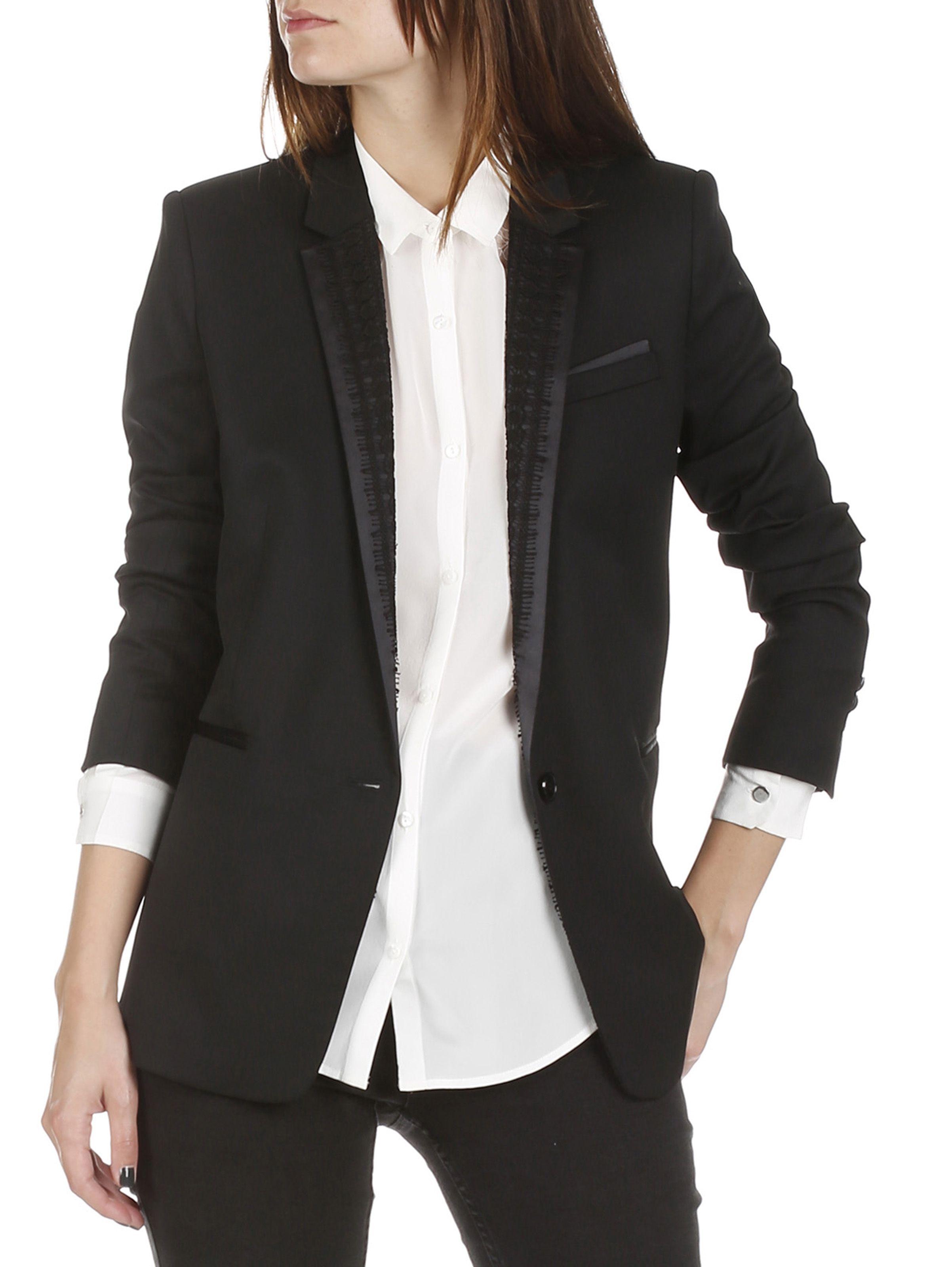 veste en laine stretch de smoking noir the kooples eboutique femme place des tendances. Black Bedroom Furniture Sets. Home Design Ideas