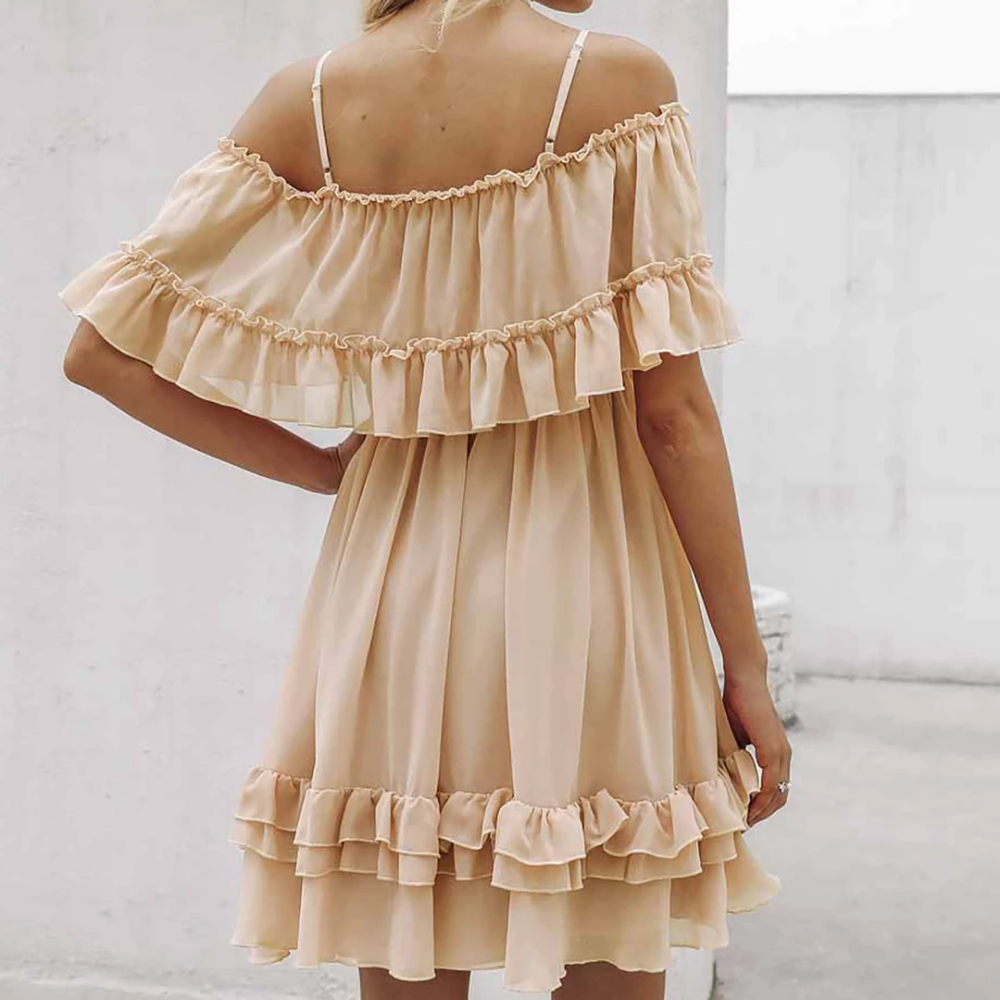 Juberry Boho Romantic Vintage Ruffle Off The Shoulder Baby Doll Chiffon Mini Dress Mini Dress Chiffon Mini Dress Top Summer Outfits [ 1000 x 1000 Pixel ]