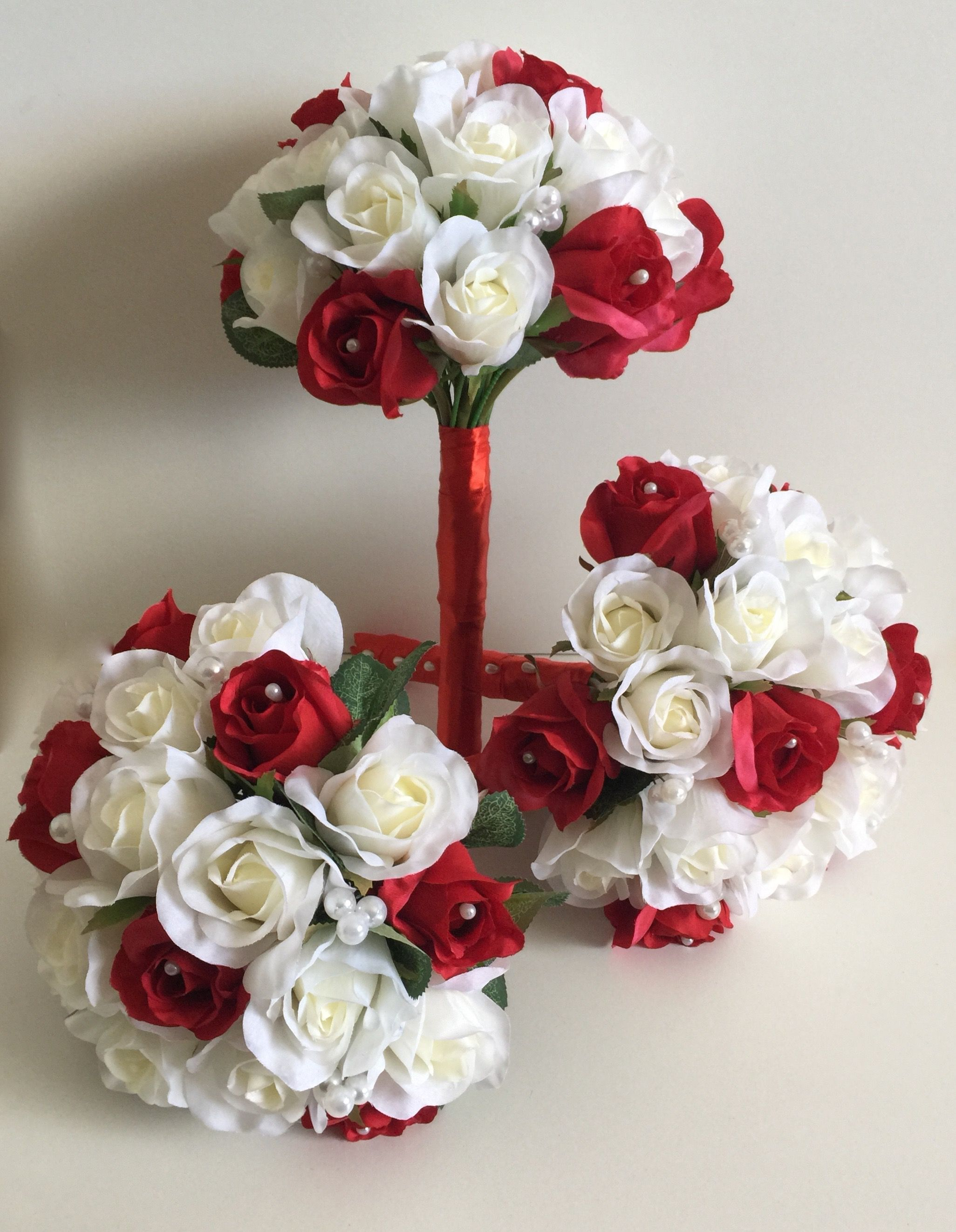 Wedding bouquets red and white roses  Custom Made Silk Bridesmaids Bouquets With Ivory u Red Roses