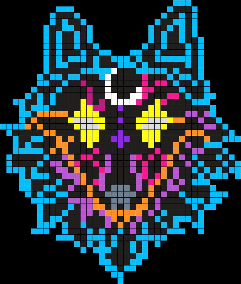 Galaxy Wolf Perler Bead Pattern / Bead Sprite | crohet