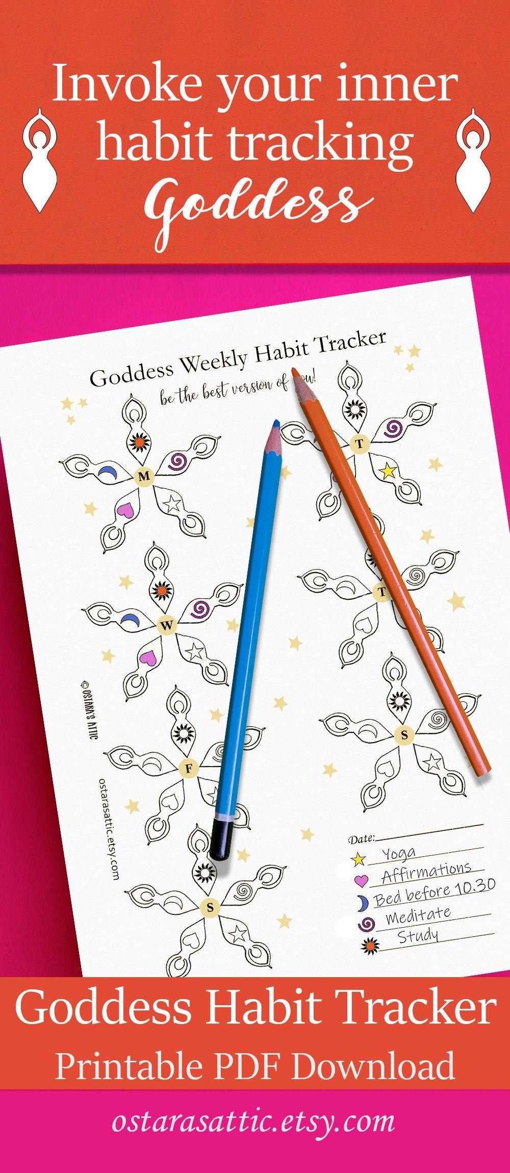 Goddess Habit Tracker for Happy Planner, Bullet Journal
