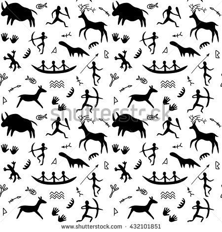 Vector Seamless Pattern With Cave Drawings Theme Black Silhouettes Of Hunting Caveman And Wild Animals Drawing Themes Cave Drawings Cave Paintings