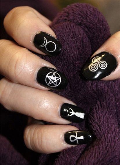 wiccan nail art \u003c3 Arte Delle Unghie Pazzesche, Unghie Da Strega, Capelli E