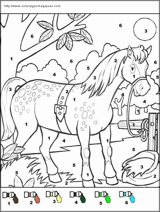 Coloriages magiques de la ferme enfants coloriage magique coloriage magique coloriages - Coloriage en ligne cheval ...
