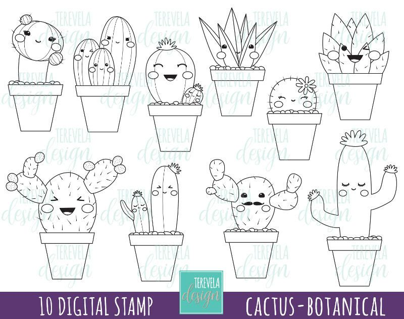 Cactus digital stamp digi stamp commercial use kawaii for Christmas cactus coloring page