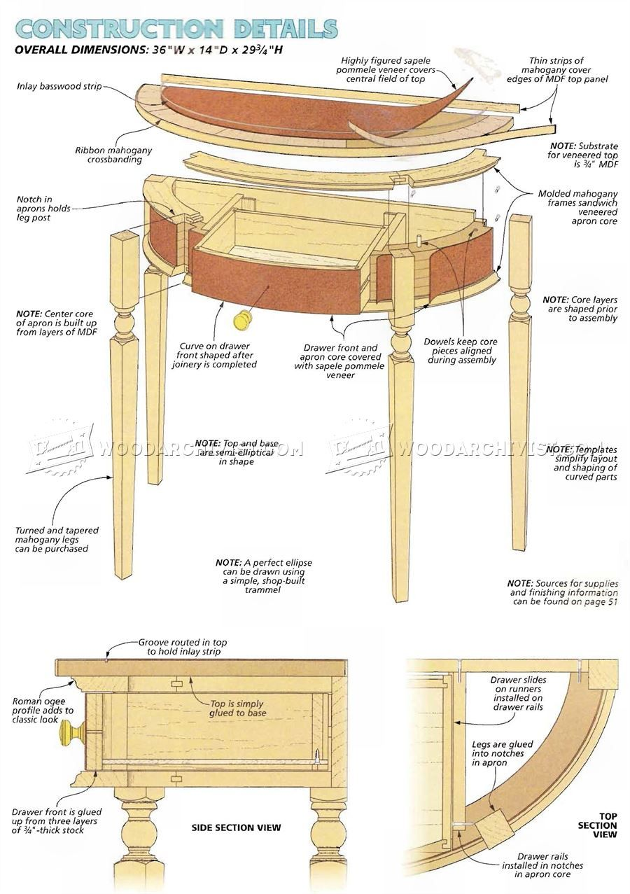 1357 Classic Demilune Table Plans - Furniture Plans   Wood working ...